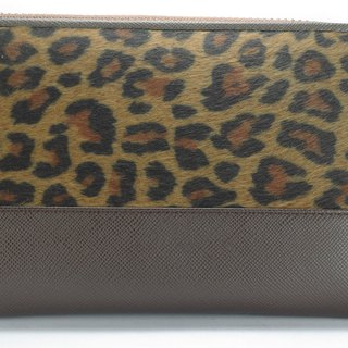 Classic long zipper leopard wallet brown - can be added to buy custom branding