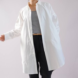 wafu   cotton shirts / long sleeve / oversize / loose fitting / white b32-25
