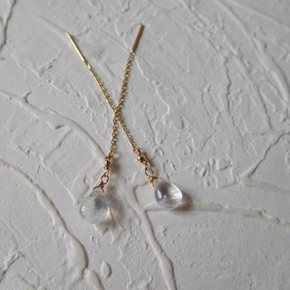 Pure 14K gold drop type moonstone k gold ball ear line