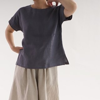 Linen drop shoulder T shirt / Sumida t1-62