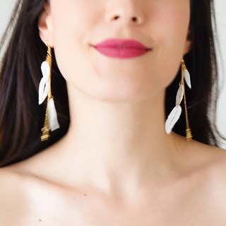 Off White Lace Earrings Dangle Earrings Long Earrings Boho Chic Elegant Earrings Bridal Earrings Bridal Jewelry Gift For Her / DONNA