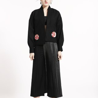 Black Wool Embroidered Coat – Warm