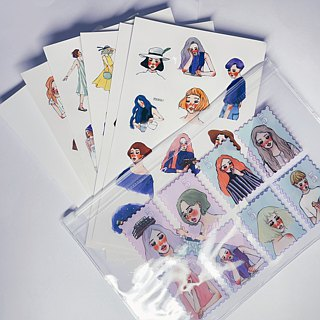 Transparent stickers set with 5 in