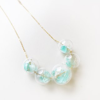 Preserved Flower Planet Ball Pastel Green Necklace