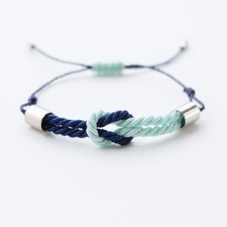 Tiny tie the knot rope bracelet in Light mint / Navy blue