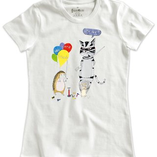 Classic white short-sleeved T-shirt_We are friends, are we?(猬刺版)(Female M out of stock)