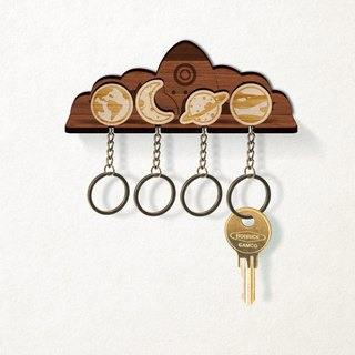 Small Universe Planet - Customized Wood Key Ring Rack Set (Four In) - Key / Storage / Wall Mount / New Home Completed