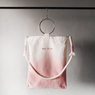 Anthurium Powder Gradient (with round rope strap) - Hand dyed Tote bag
