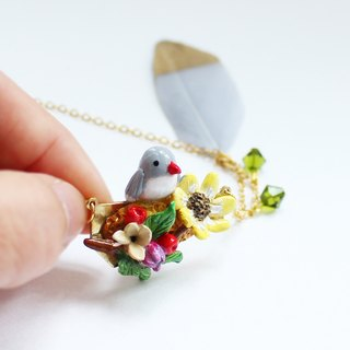 Bird • Sun Flowers Handmade Necklace I Story_Early Spring