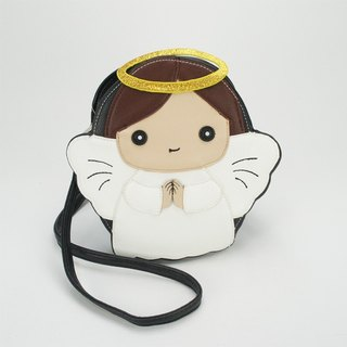 Sleepyville Critters - Angel with Halo Crossbody Bag - brown color hair