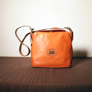 Shika Vintage Bag // Marco Polo light brown side backpack / antique bag old leather classic old