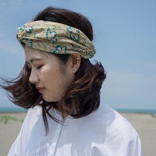 Blue willow tea towel cap type elastic wide version / handmade hair band