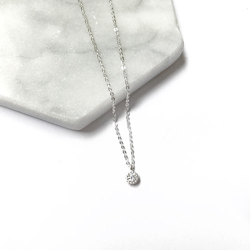Bare skin cake zircon silver necklace collarbone