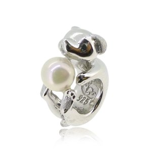 DOG SHAPED SILVER CHARM WITH AKOYA PEARL