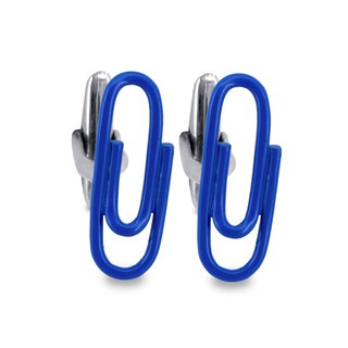 Paper Clip in Blue Cufflinks