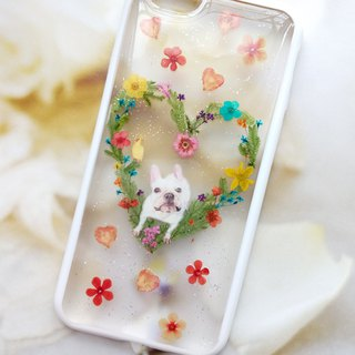 Handmade phone case, Pressed flowers phone case, iphone 6S, My French bulldog