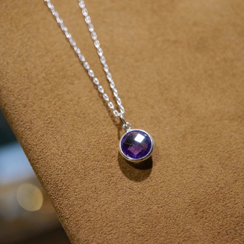 ITS-N107[925 Silver Series, Gemstone, Amethyst] Faceted Amethyst Very Fine 1mm Necklace