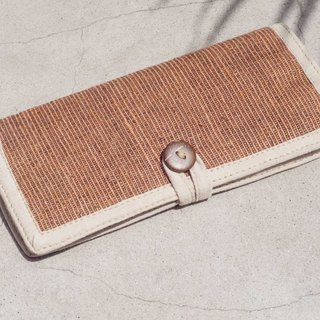 Handmade cotton and linen wallet / woven stitching leather long clip / long wallet / purse / woven wallet - natural orange