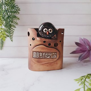 A-18 Jesus Loves You Eagle│Yoshino Hawk x Owl Pottery Gospel Storage Pen Holder Hand-made Desks and Desks Stationery Healing Small Objects