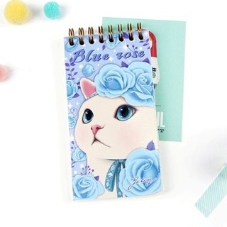 JETOY, sweet cat pocket notebook (check list)_Blue rose J1704302 (gift value 160 ballpoint pen)