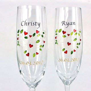 My Crystal Champagne Glasses - Floral Heart ( including engraved names & date )