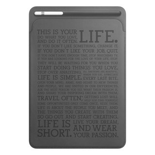 iPad pro 10.5 / 12.9 leather case Inspiration quote gray with pen slot