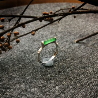 Bamboo rhyme - Boutique Design Series: Natural ice green jade (Burma jade) 750K gold fine version of the ring