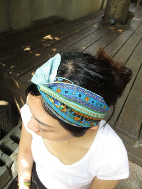 Cross hair band (smooth hand) - Two-color Nepal - Blue