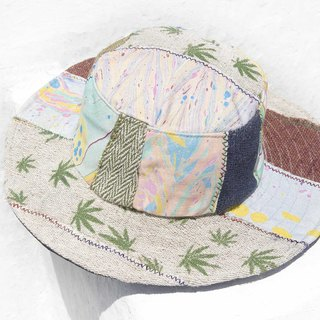 Moroccan wind stitching hand-woven cotton hat woven hat fisherman hat visor straw hat - marijuana forest hat