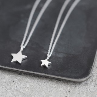 2 co set) tiny star pair necklace silver 925