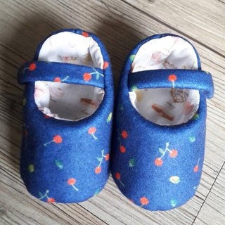 Dark blue cherry baby shoes (wool cloth)
