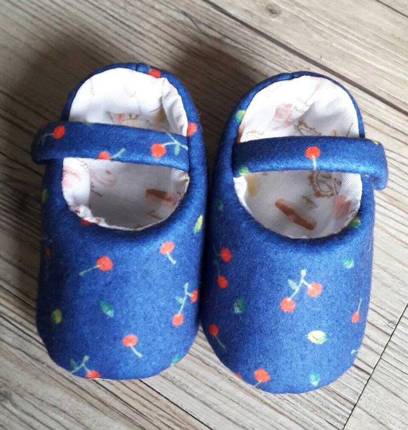 深藍櫻桃嬰兒鞋 (羊毛布款)