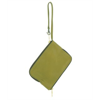 Double-sided zipper bag / Double Face / leather / S / olive green / hand-limited