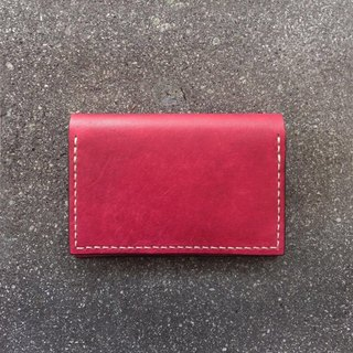 Leather card case dark red business card holder