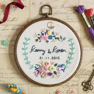 【Custom Made】 Wedding/ Anniversary Embroidery Hoop Gift - All handmade