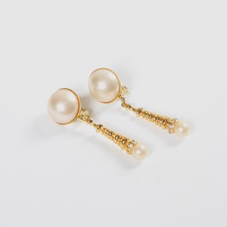 [Egg plant vintage] pearl cone long retro clip antique earrings