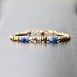 ITS-B904 [Natural Stone and Nereids and Artemis] Blue Stone Pearl Brass Bracelet 1