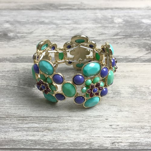 Retro blue and green gemstone retractable antique bracelet BHA119