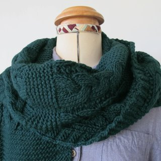Lan wool scarf (twist dark green)