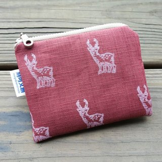 // Random purse / Taiwan native / / sika deer [gray / crimson]