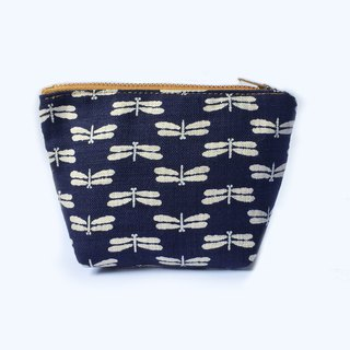 Dragonfly Small Cosmetic Bag Multipurpose  Zip Pouch, Japanese Indigo Cotton
