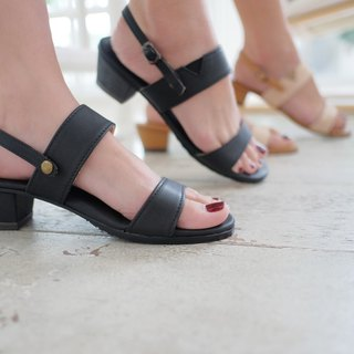 Minimal Black Leather Sandal Heel Removable strap Rubber sole