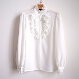 Pumpkin Vintage. Ancient court wind lace chiffon white shirt