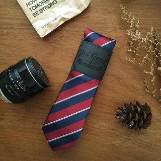 The GENT Red and Navy Wide Stripe Neck Tie