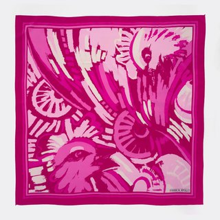 Vintage pink graffiti antique silk scarf BL0001