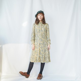 Vintage Cream Yellow Floral Dress