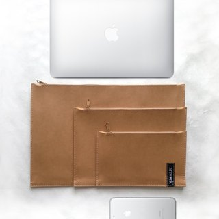 "washable kraft clutch bag for mac book13"" or mac book air  and A4 folder + 2 multi-purpose pouchs"