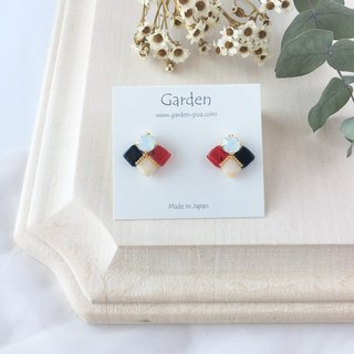tile earrings red