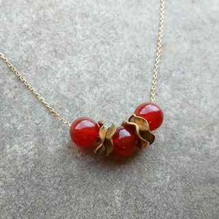 Shabby Chic Carnelian Vintage Brass Beads Necklace