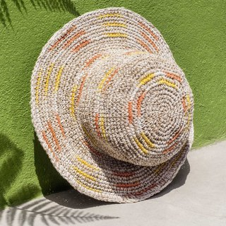Hand crocheted cotton and linen caps knit hats fisherman hat straw hat straw hat - orange juice gradient stripe
